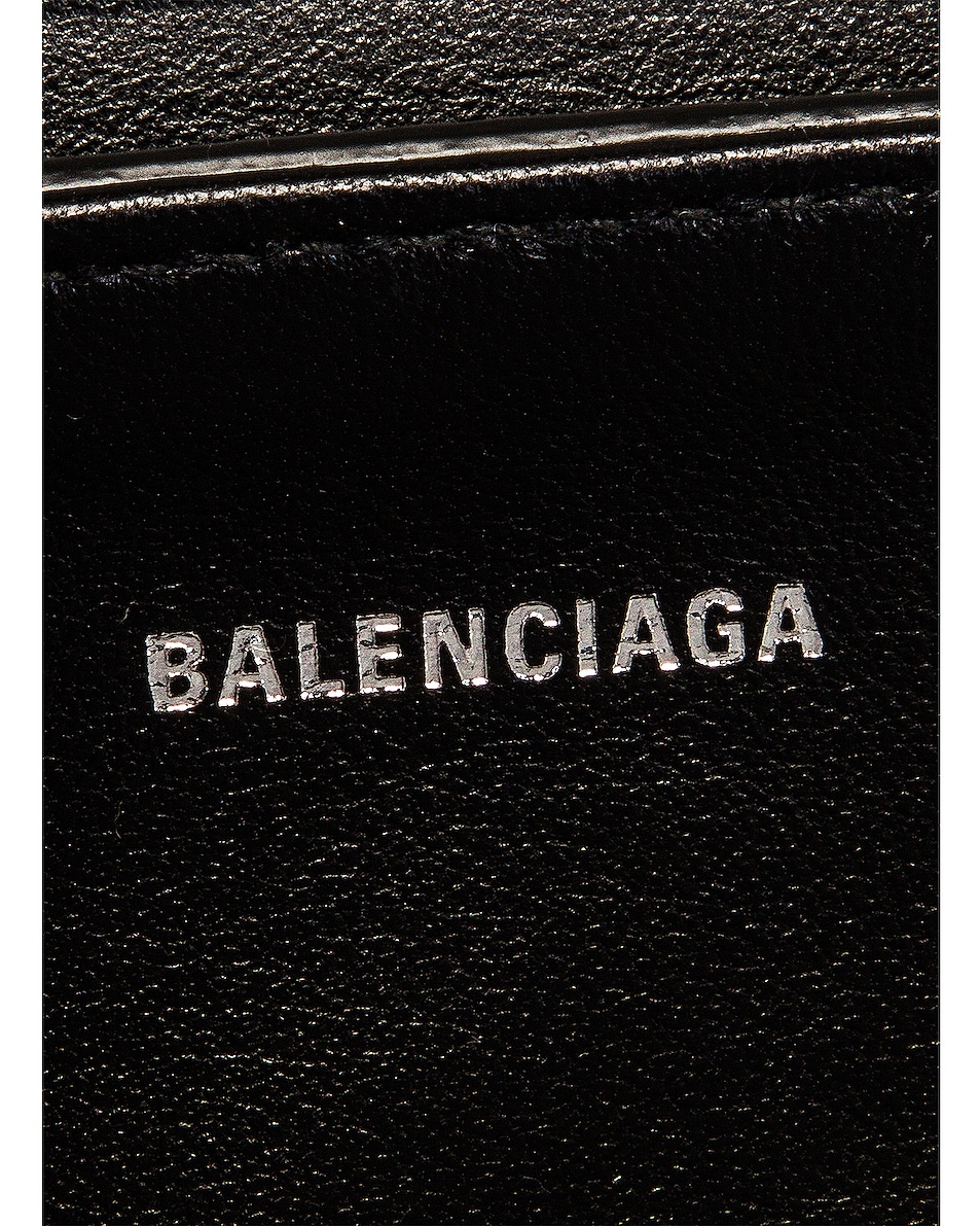Image 7 of Balenciaga Small Embossed Croc Round Top Handle Bag in Black