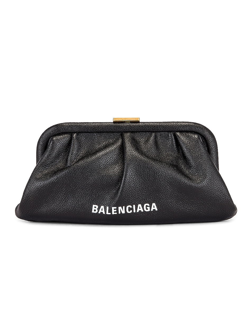 Image 1 of Balenciaga XS Cloud Clutch with Strap in Black