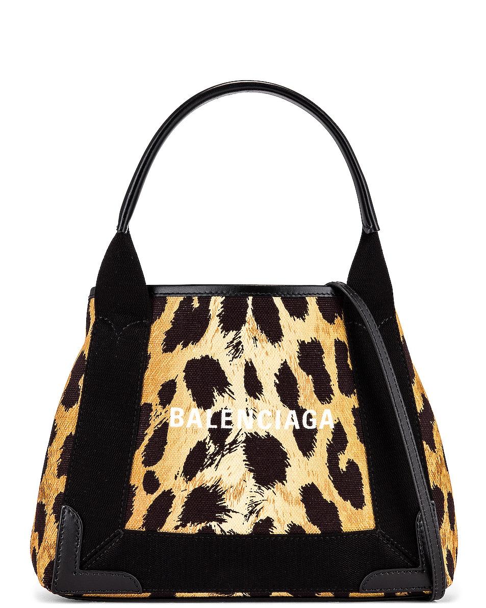 Image 1 of Balenciaga XS Leopard Navy Cabas Bag in Beige & Black