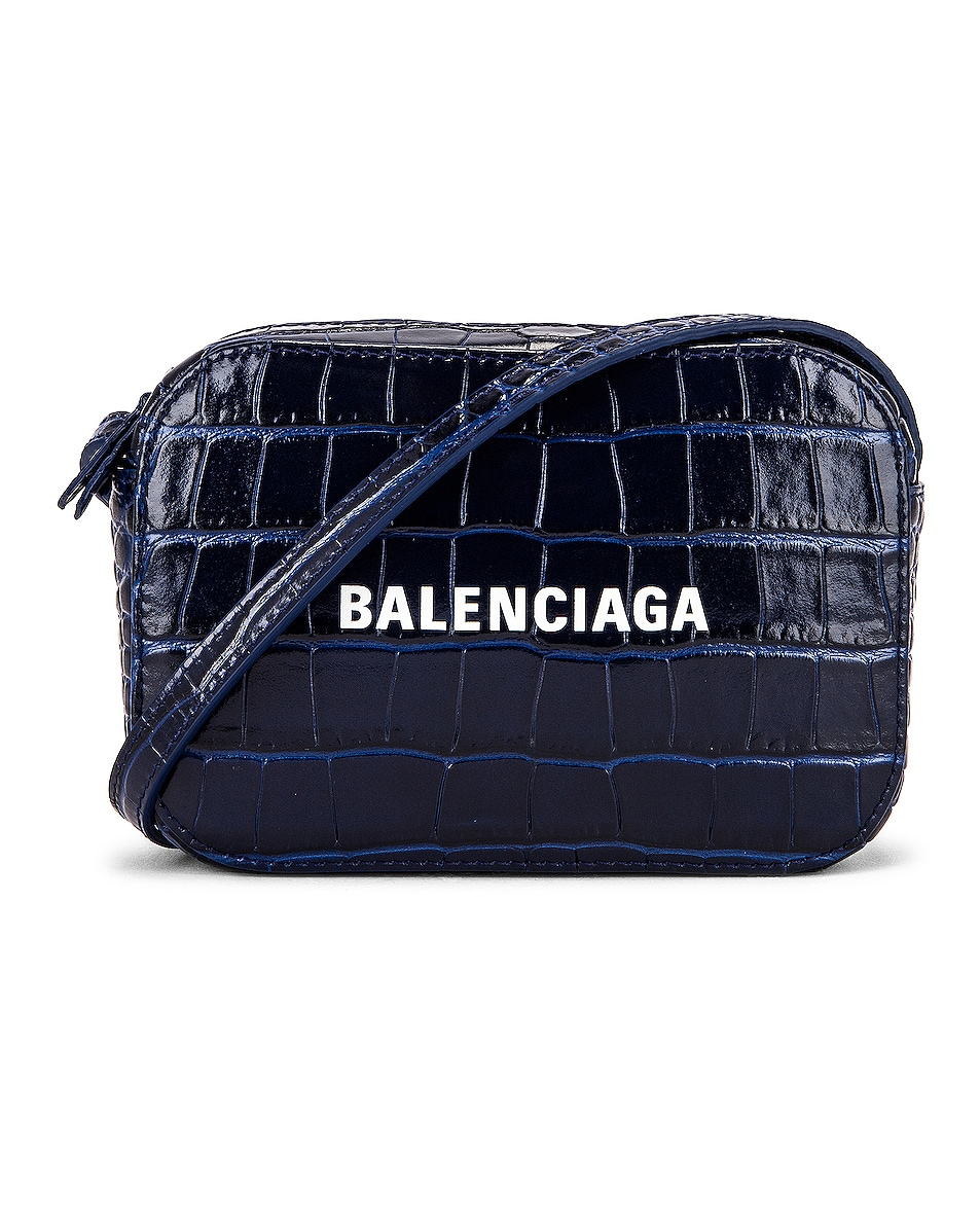 Image 1 of Balenciaga XS Embossed Croc Everyday Camera Bag in Navy
