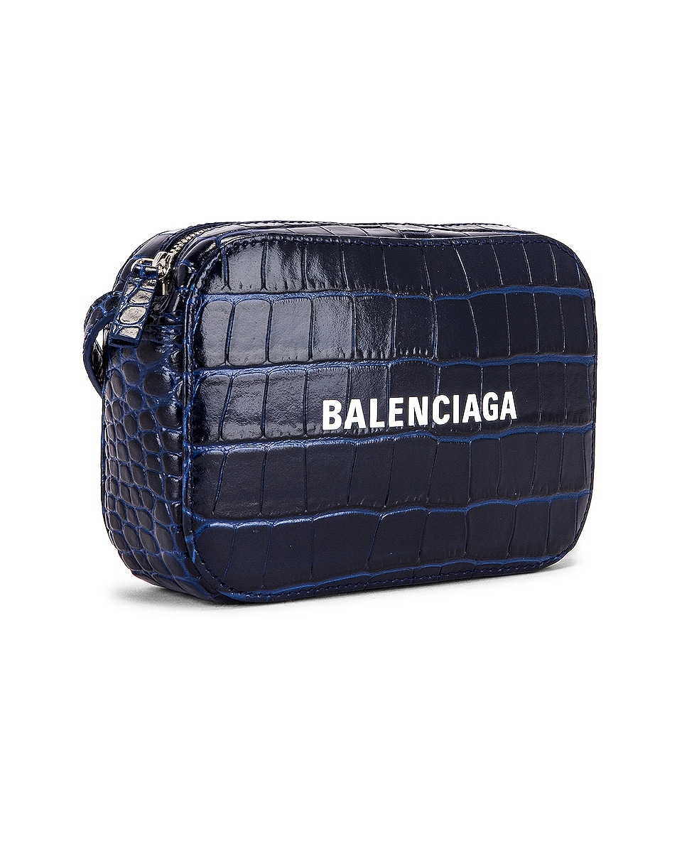 Image 4 of Balenciaga XS Embossed Croc Everyday Camera Bag in Navy