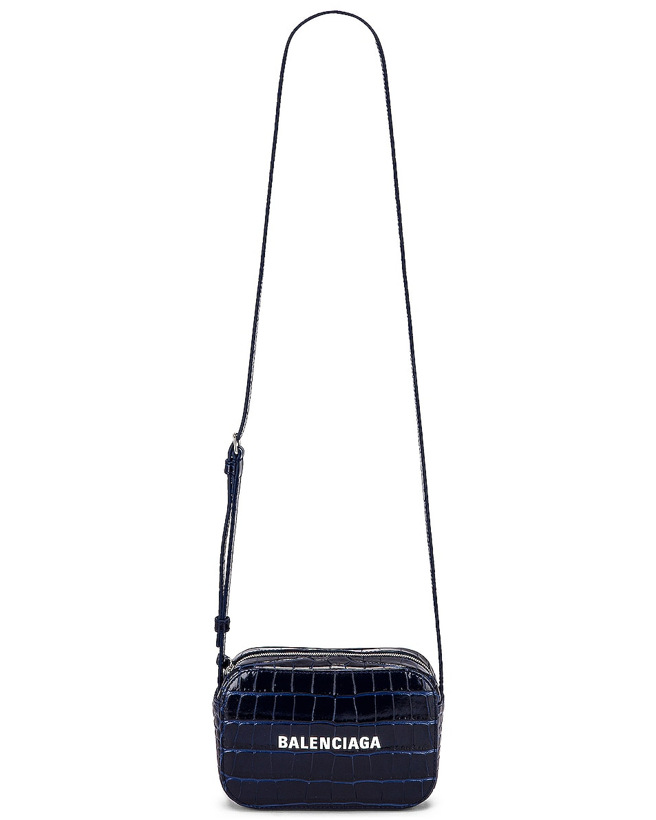 Image 6 of Balenciaga XS Embossed Croc Everyday Camera Bag in Navy