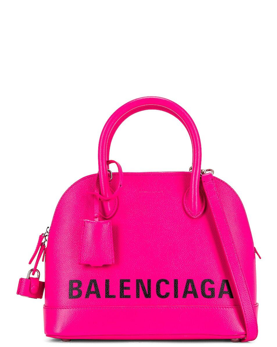 Image 1 of Balenciaga Small Logo Ville Top Handle Bag in Acid Fuchsia & Black