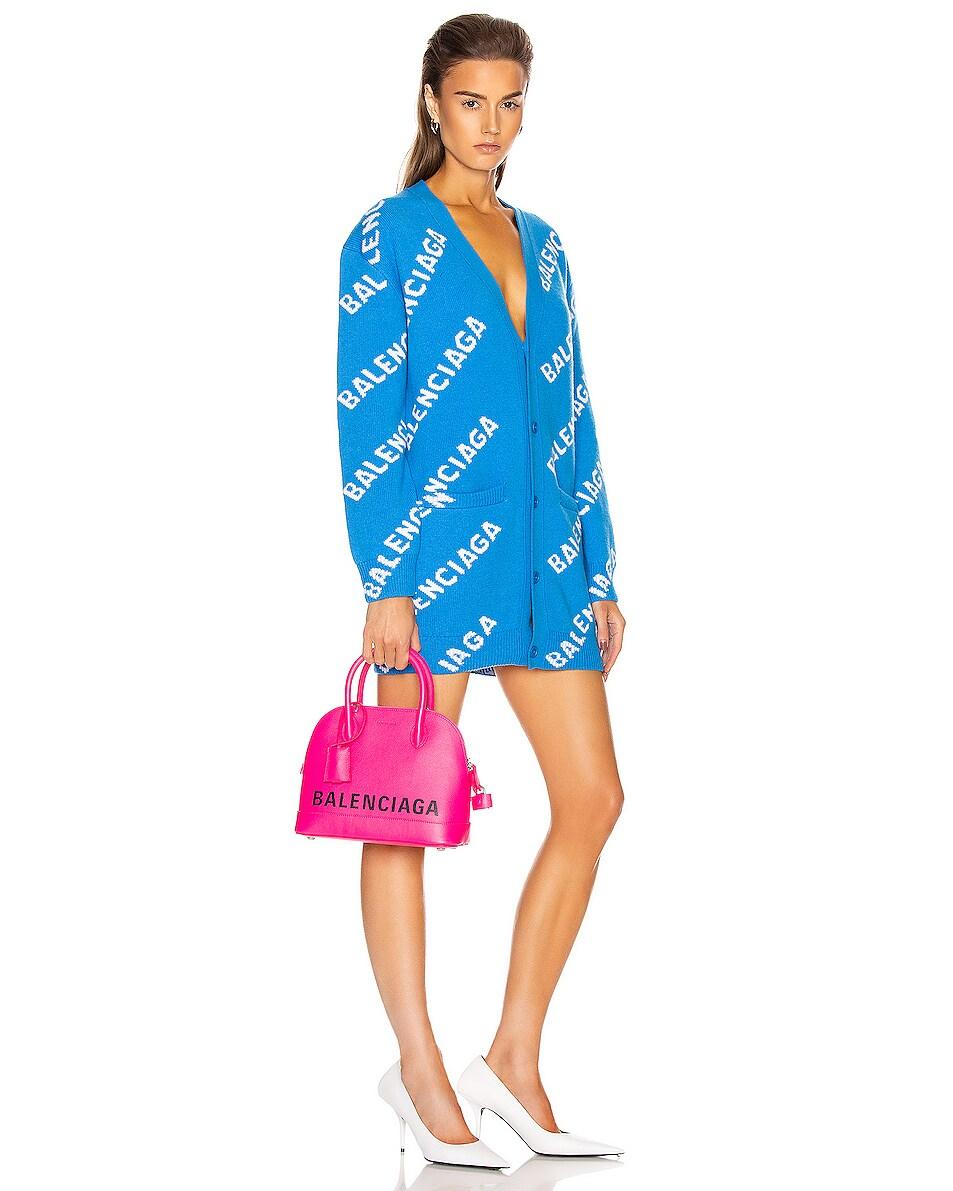 Image 2 of Balenciaga Small Logo Ville Top Handle Bag in Acid Fuchsia & Black
