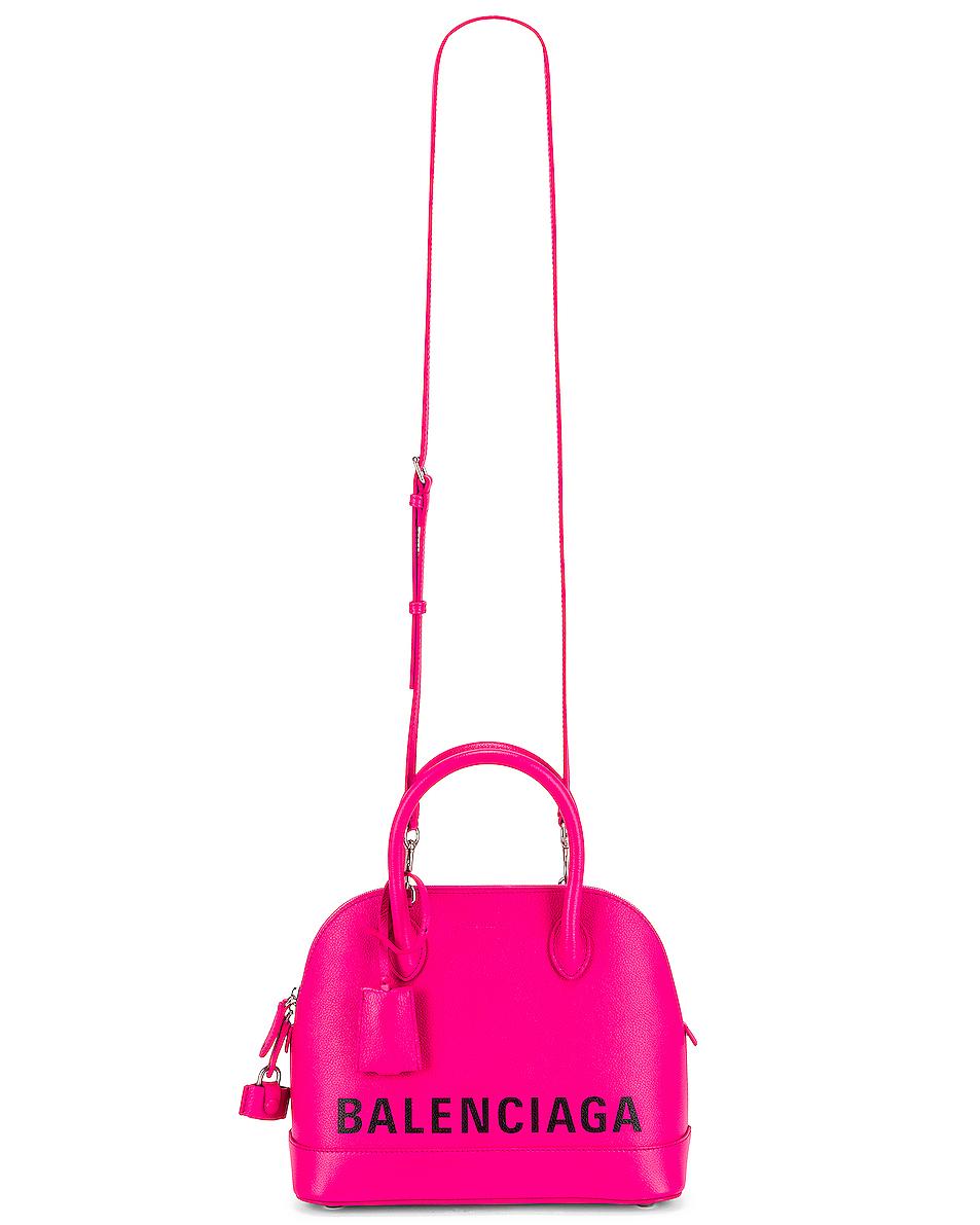Image 6 of Balenciaga Small Logo Ville Top Handle Bag in Acid Fuchsia & Black