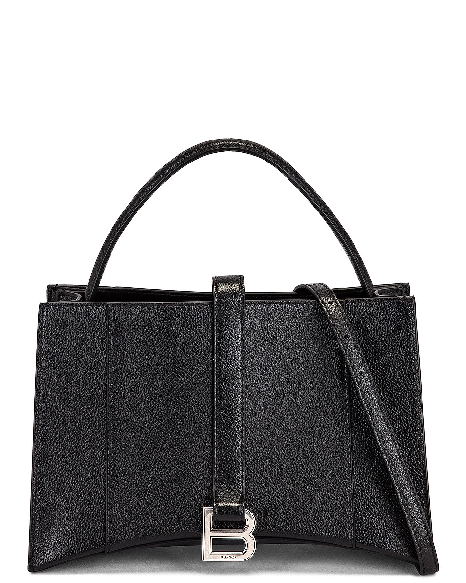 Image 1 of Balenciaga XS Hourglass Tote in Black