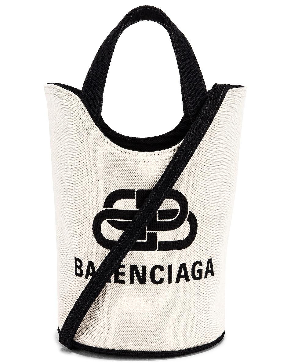 Image 1 of Balenciaga XS Wave Tote in Natural & Black