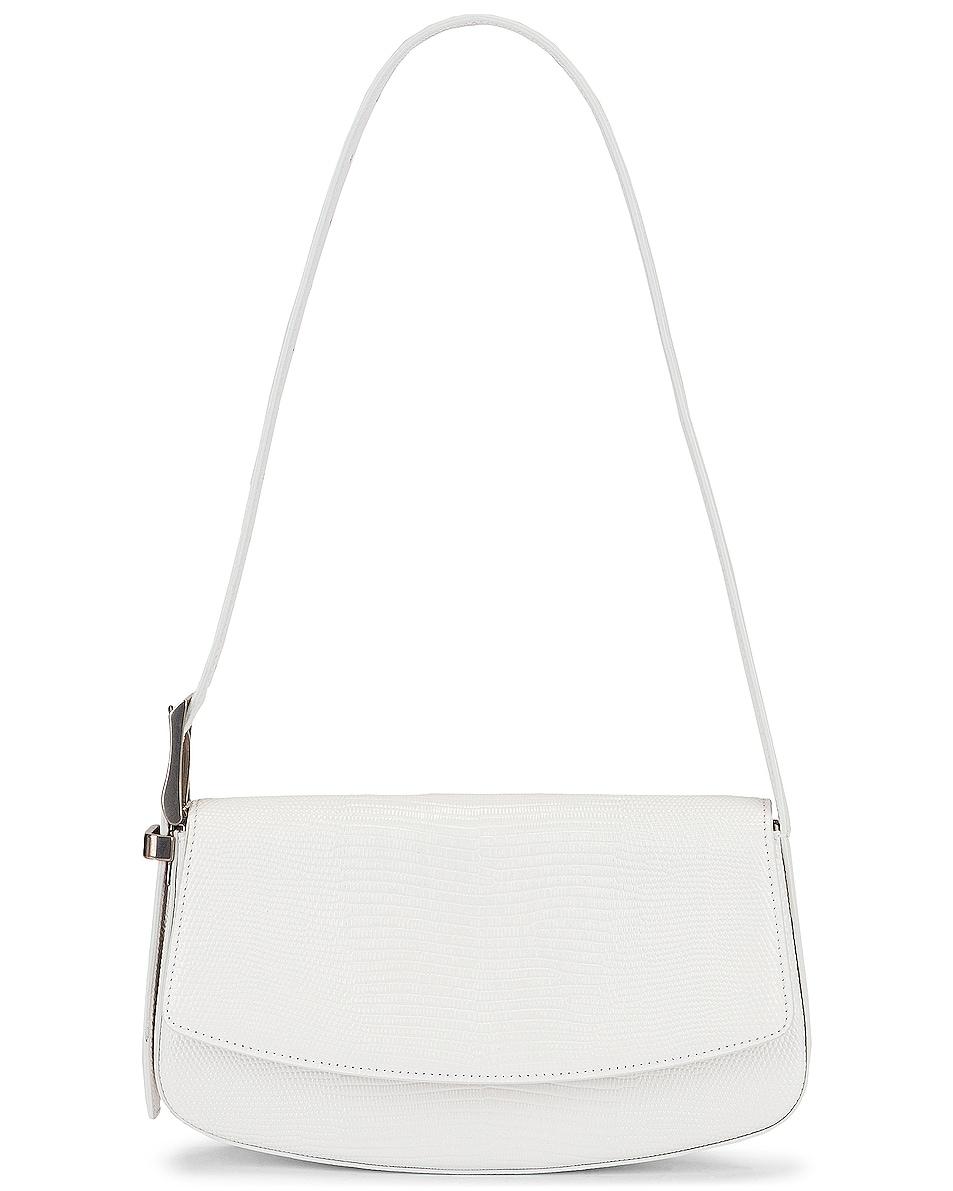 Image 1 of Balenciaga Embossed Lizard Baguette Belt Bag in Optic White