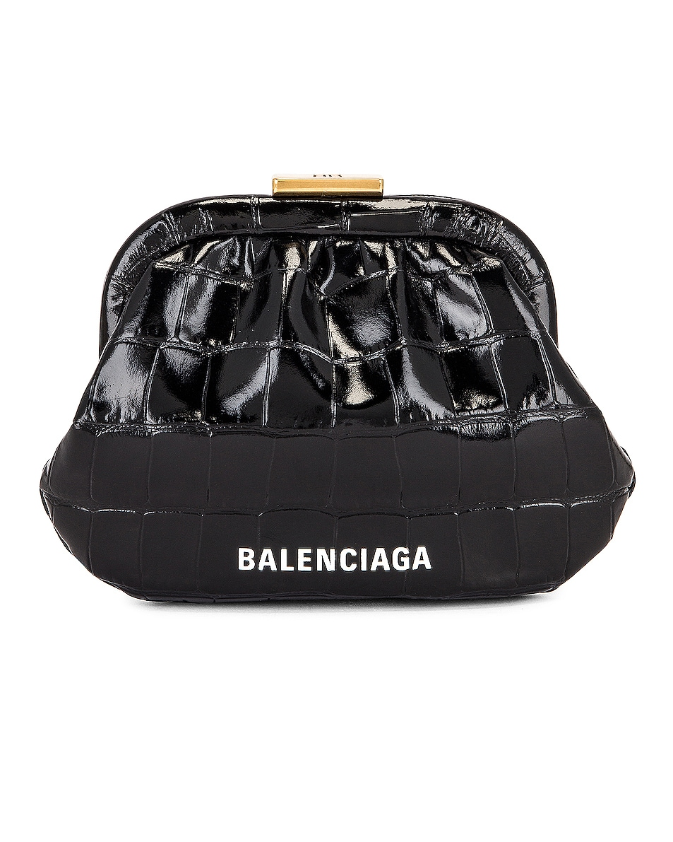 Image 1 of Balenciaga Cloud Coin Purse in Black