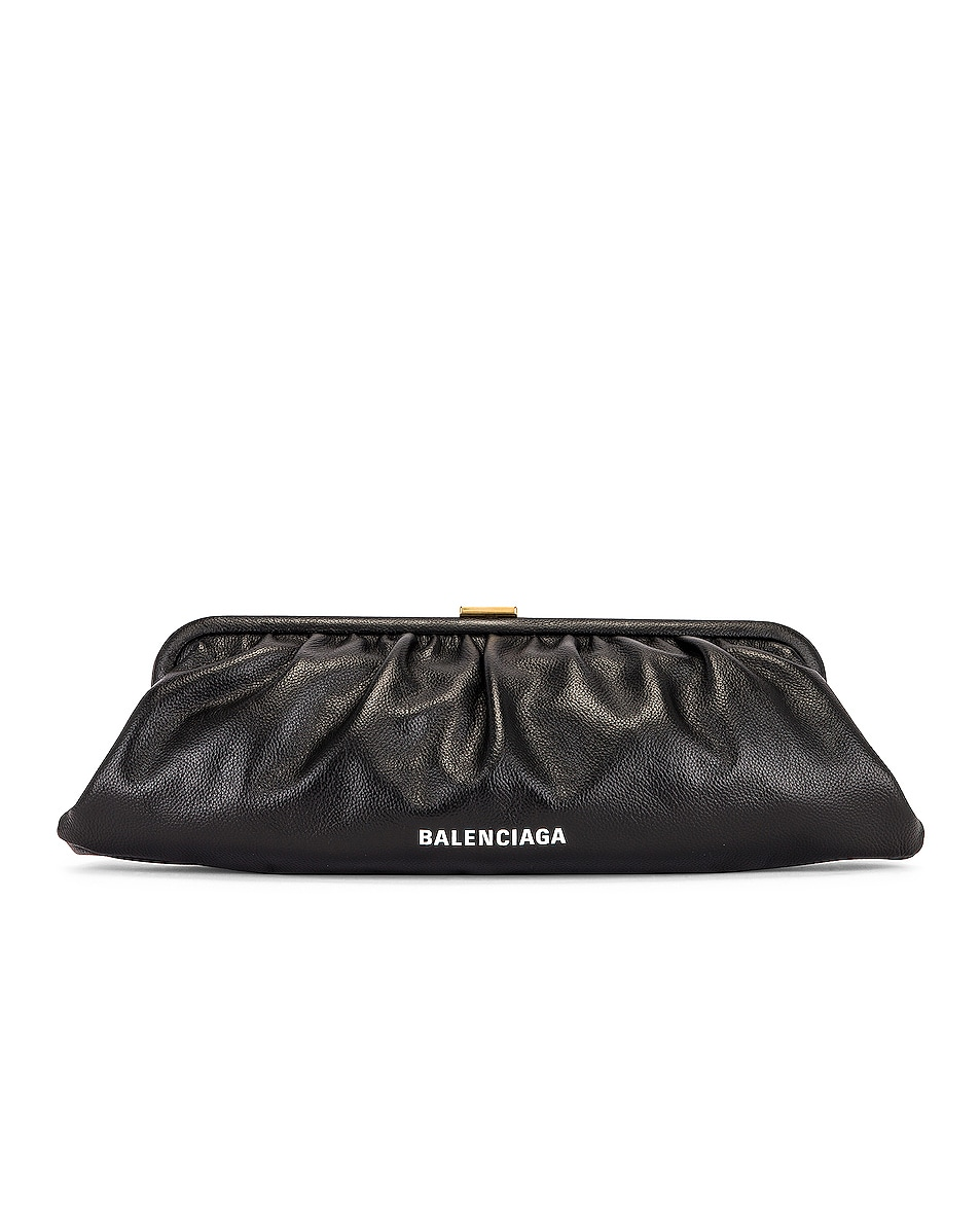 Image 1 of Balenciaga XL Cloud Clutch with Strap in Black