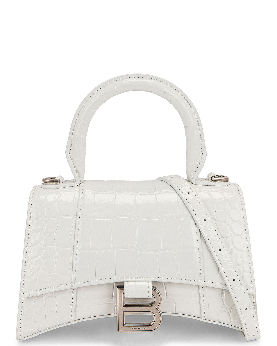 Image 1 of Balenciaga XS Embossed Croc Hourglass Top Handle Bag in White