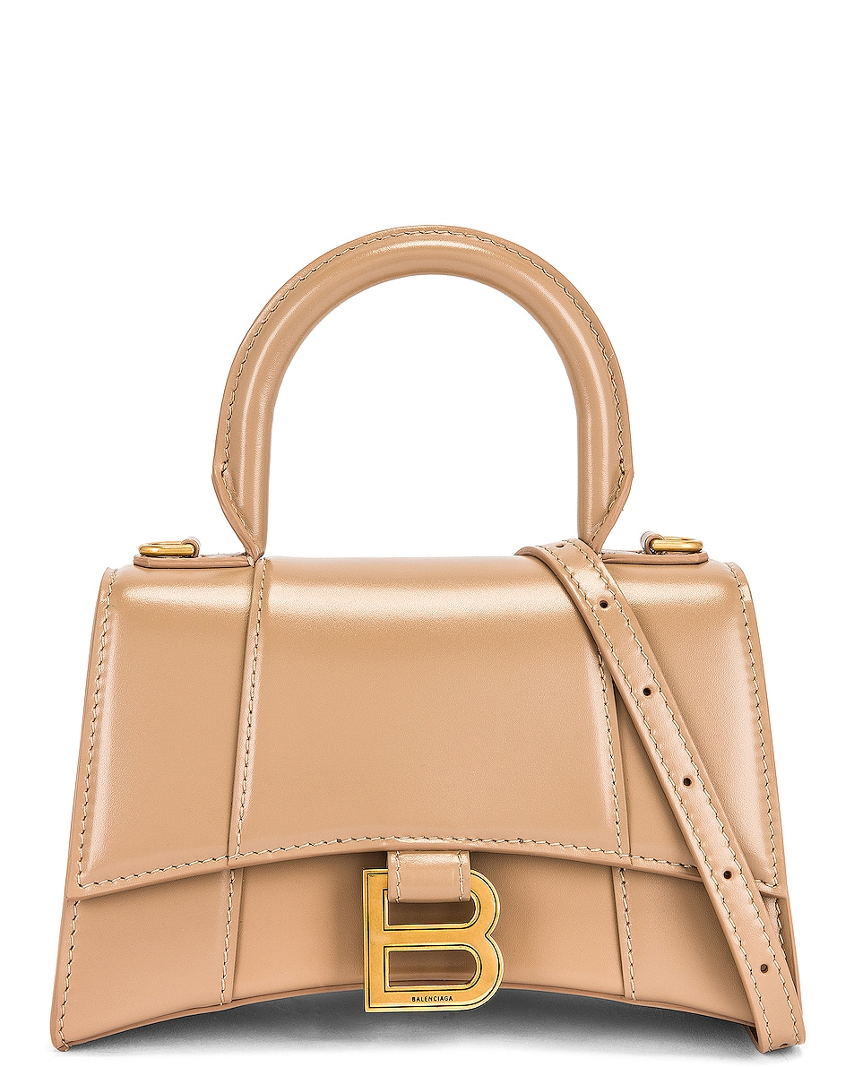 Image 1 of Balenciaga XS Hourglass Top Handle Bag in Sand