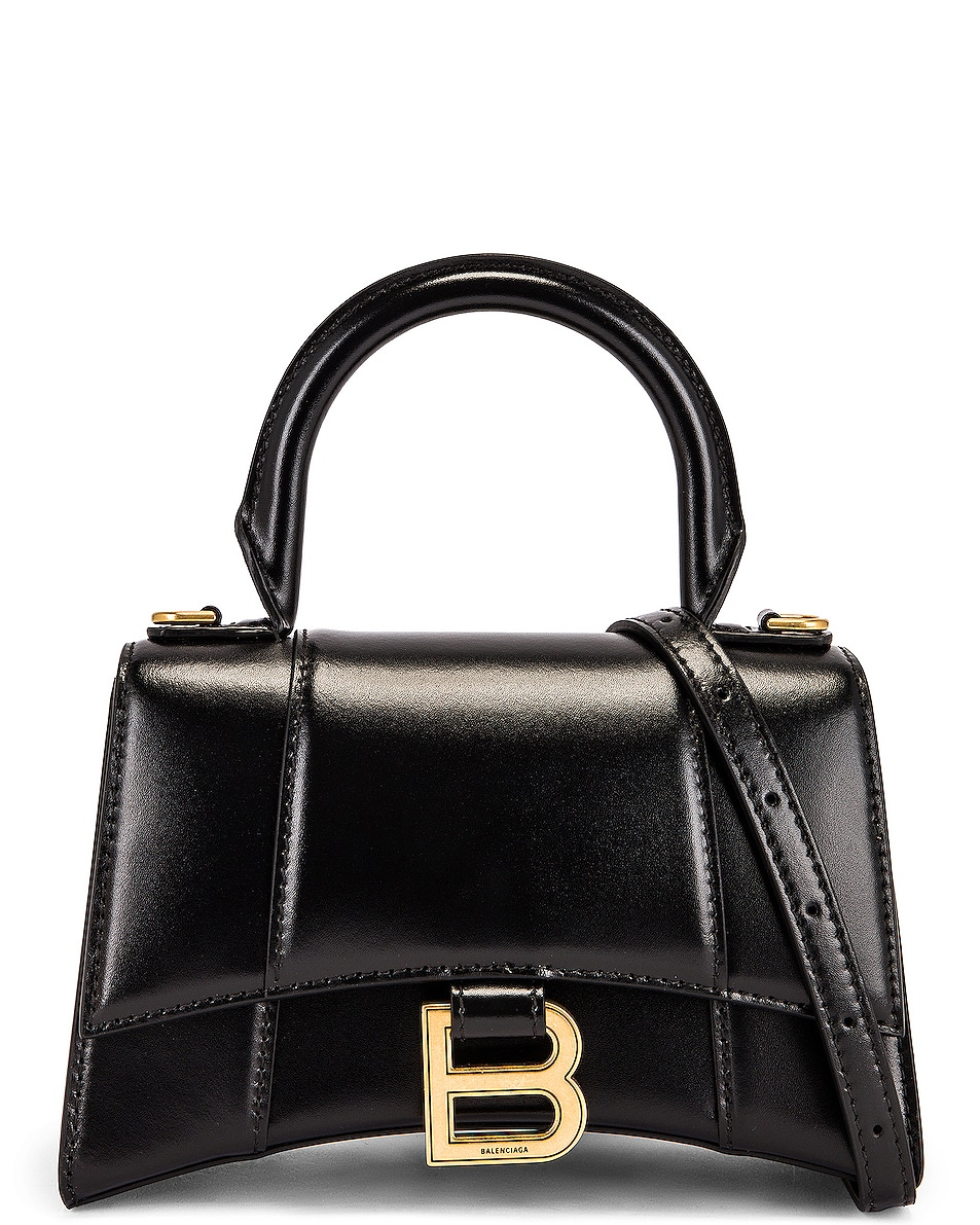 Image 1 of Balenciaga XS Hourglass Top Handle Bag in Black