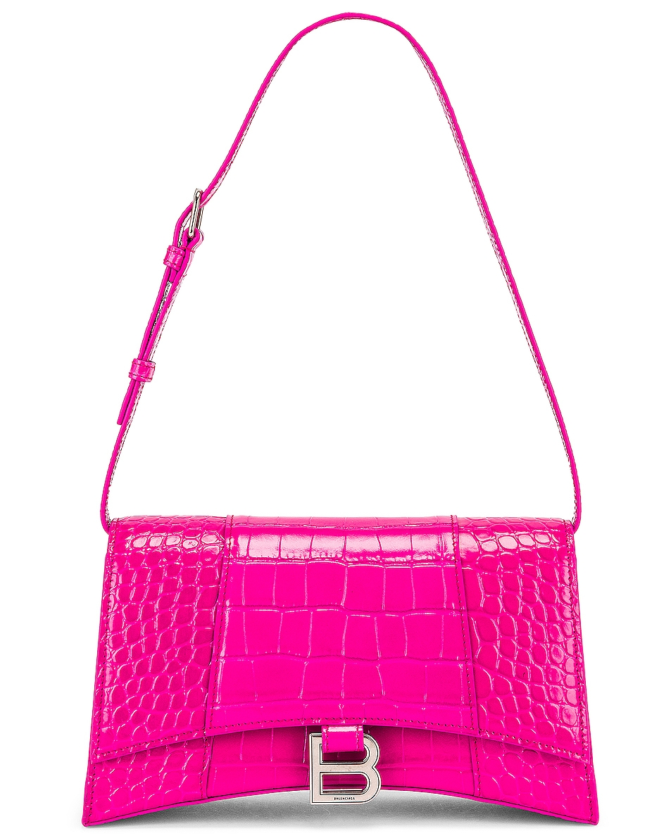 Image 1 of Balenciaga Hourglass Baguette with Strap in Fuchsia