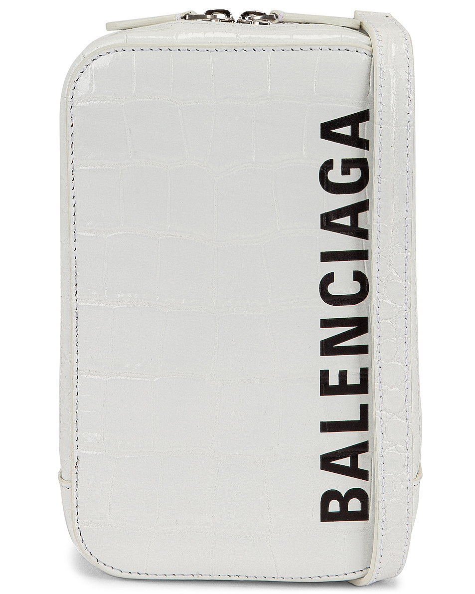Image 1 of Balenciaga Cash Zip Phone Hold in Optic White & Black