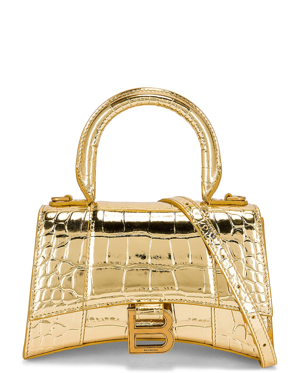 Image 1 of Balenciaga XS Hourglass Top Handle Bag in Gold