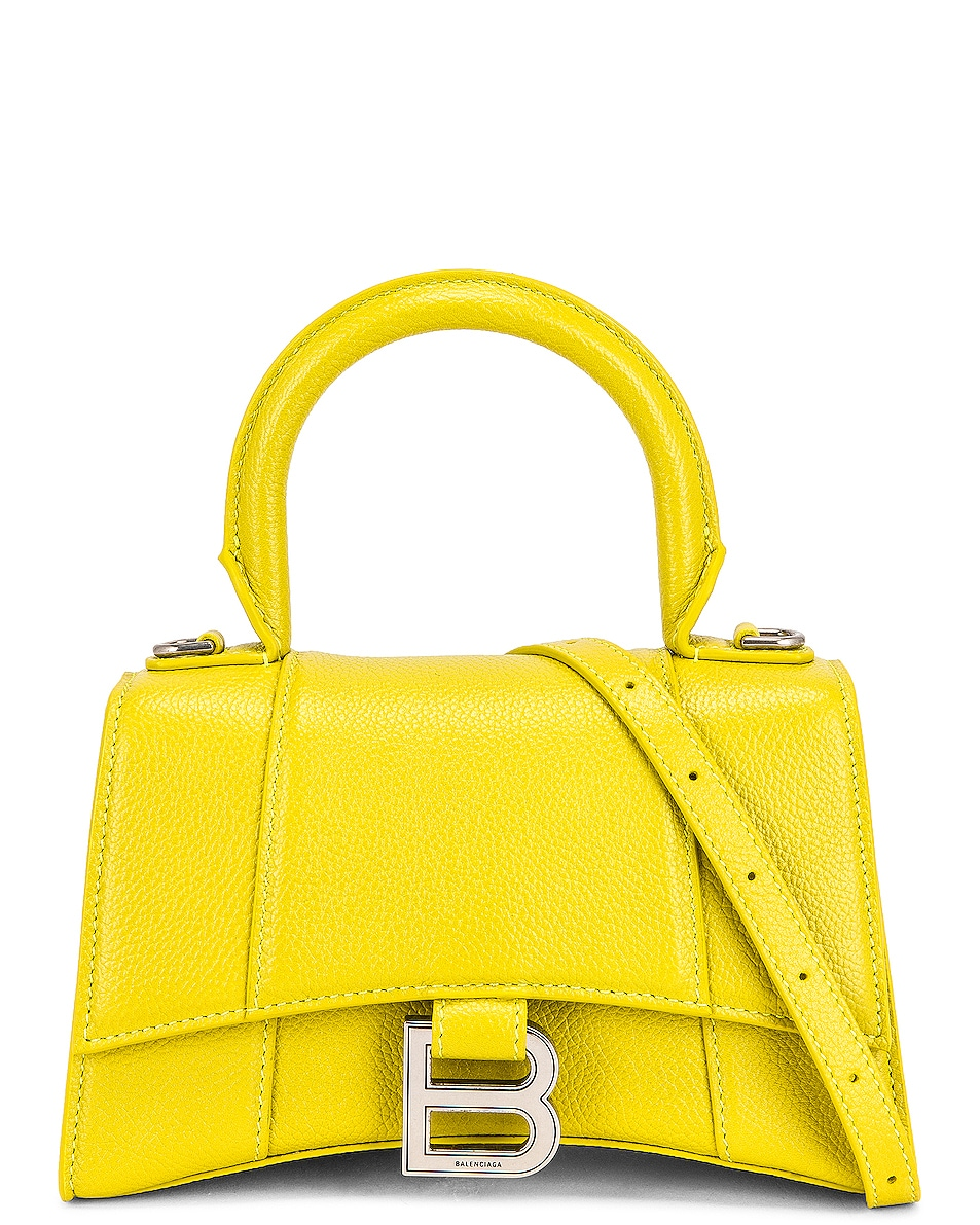 Image 1 of Balenciaga XS Hourglass Top Handle Bag in Lime