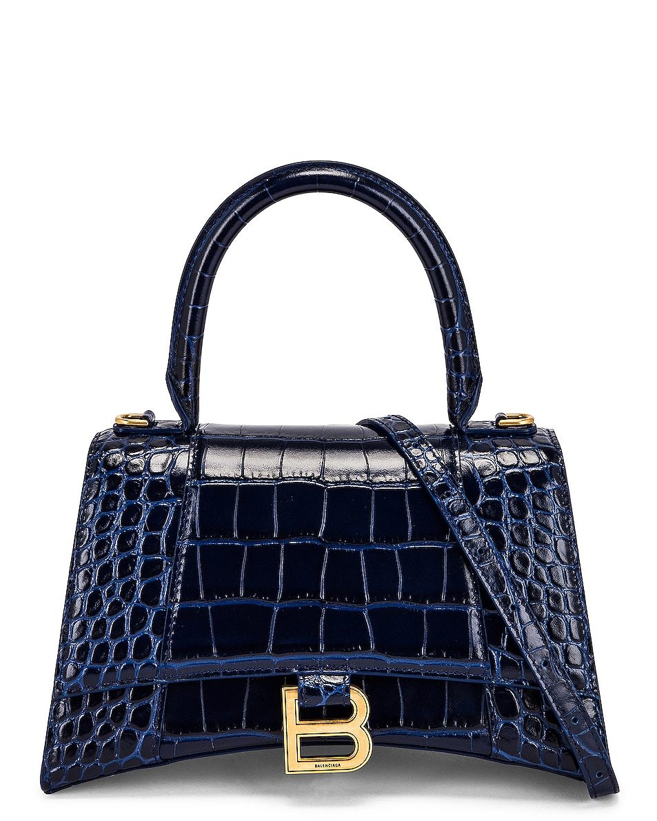 Image 1 of Balenciaga Small Hourglass Top Handle Bag in Navy