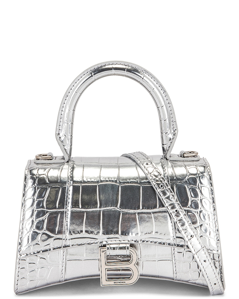 Image 1 of Balenciaga XS Embossed Croc Hourglass Top Handle Bag in Silver