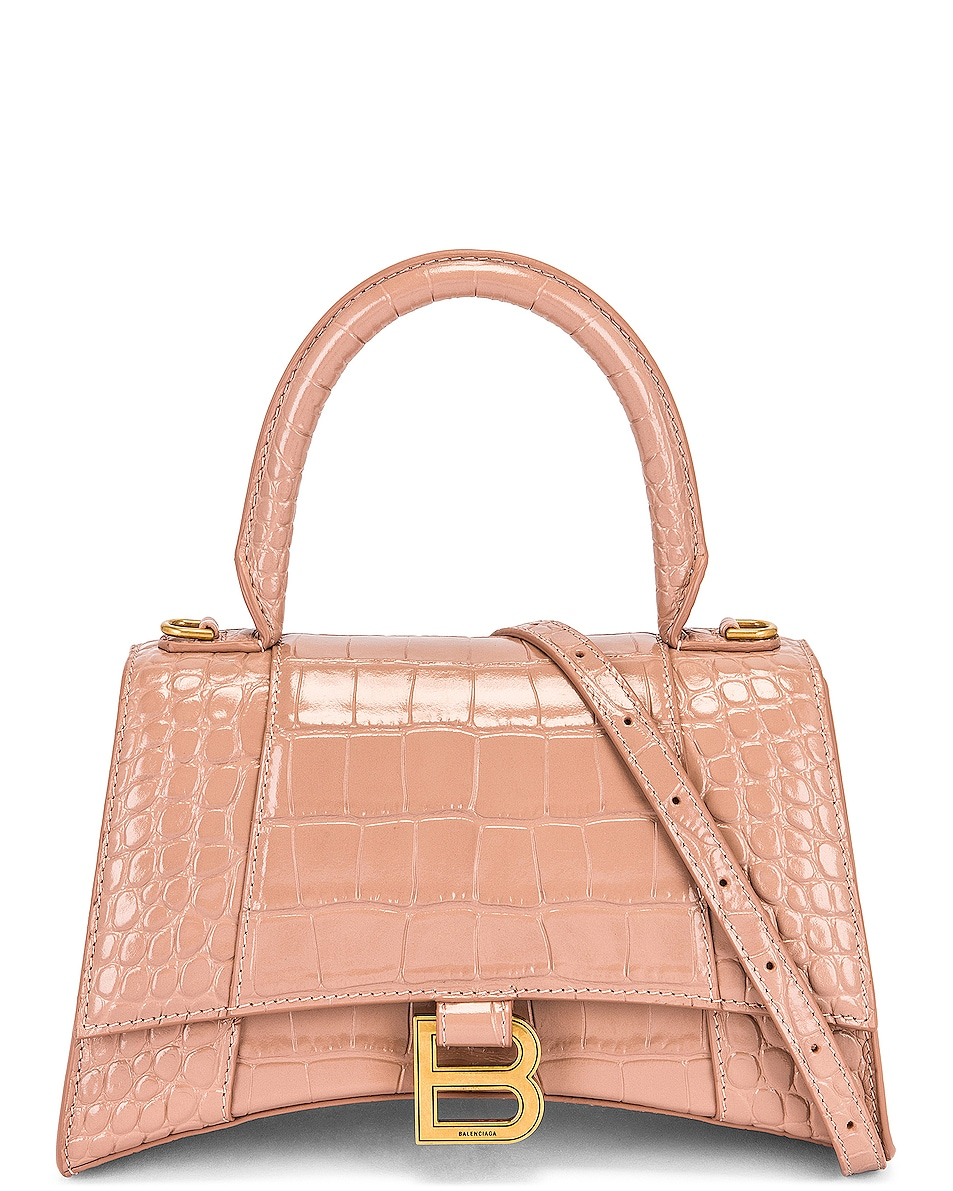 Image 1 of Balenciaga Small Hourglass Top Handle Bag in Nude Beige