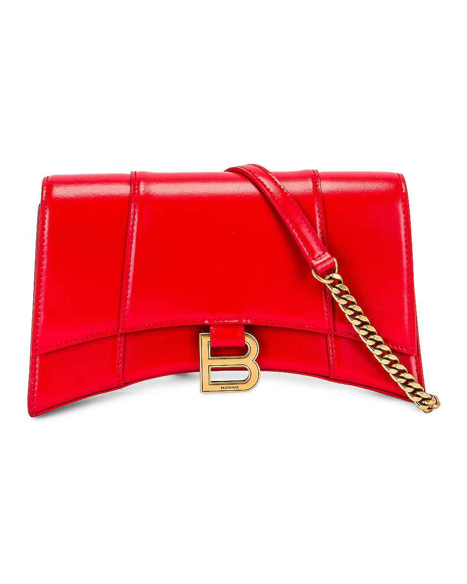 Image 1 of Balenciaga Hourglass Evening Chain Bag in Bright Red