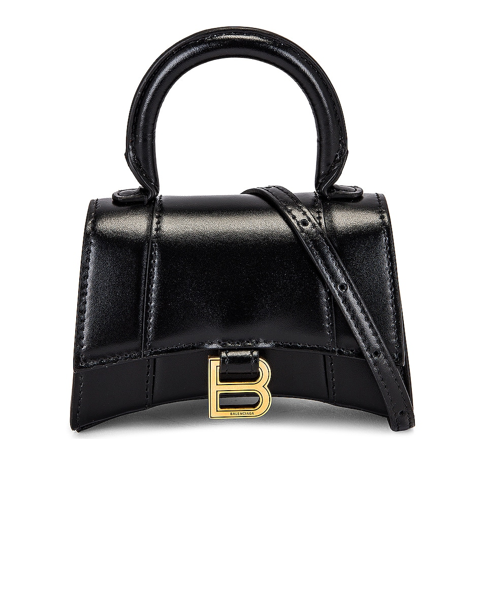 Image 1 of Balenciaga Mini Hourglass Top Handle Bag in Black