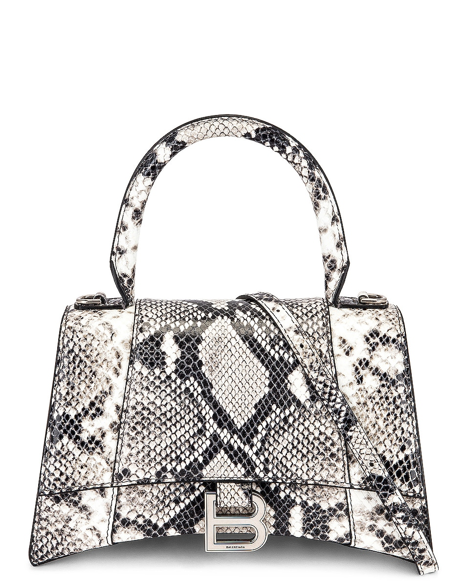 Image 1 of Balenciaga Small Hourglass Top Handle Bag in Black & White