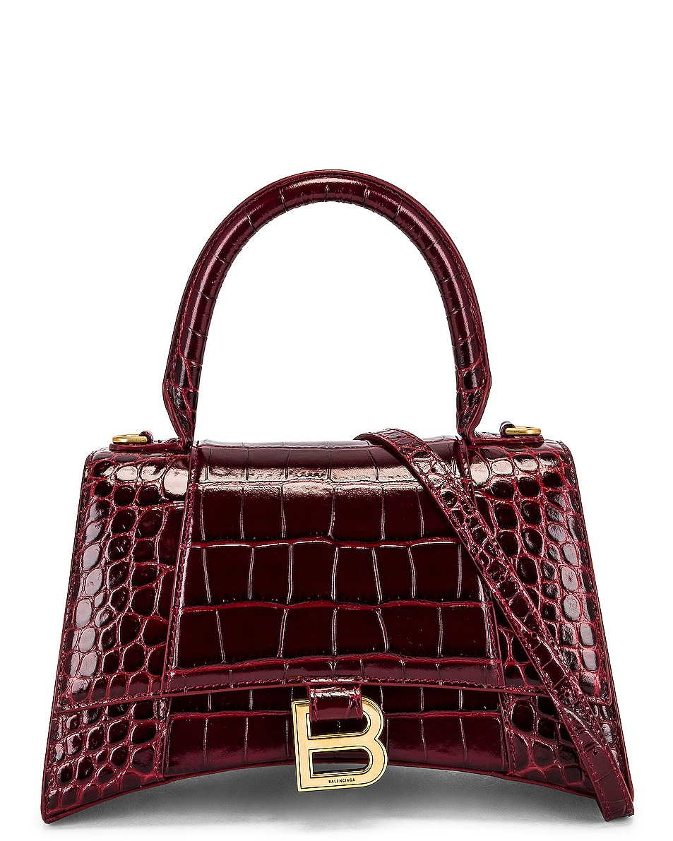 Image 1 of Balenciaga Small Hourglass Top Handle Bag in Dark Red