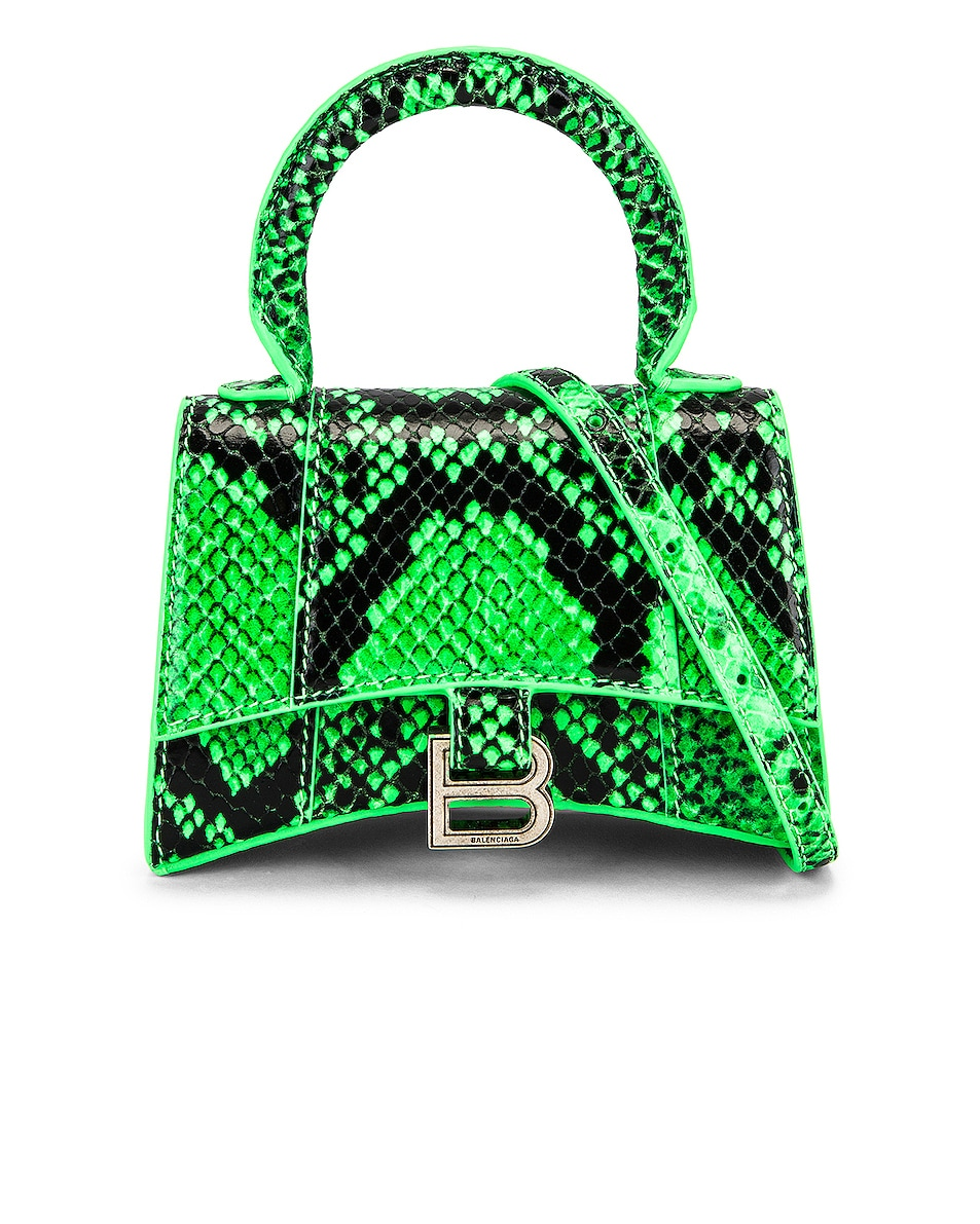 Image 1 of Balenciaga Mini Hourglass Top Handle Bag in Fluo Green & Black