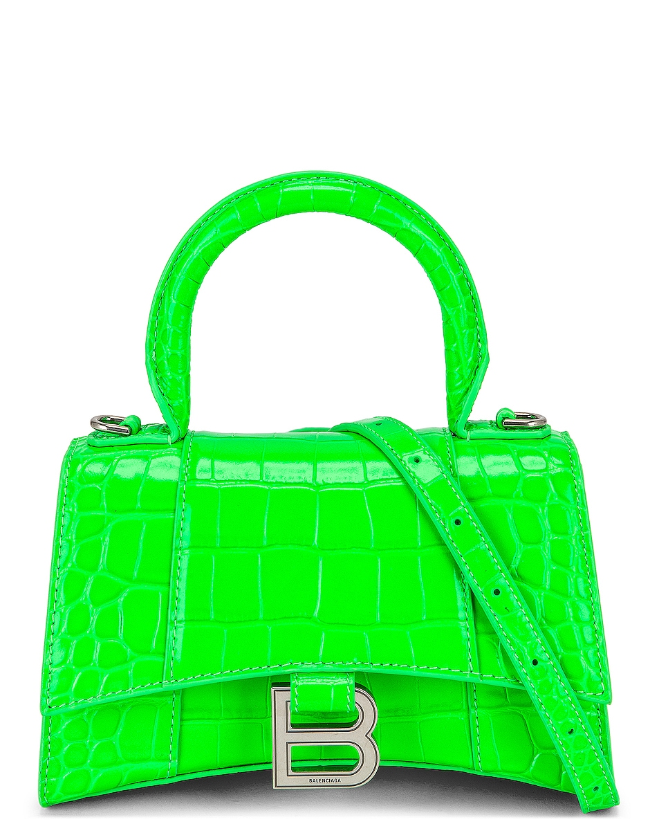 Image 1 of Balenciaga XS Hourglass Top Handle Bag in Fluo Green