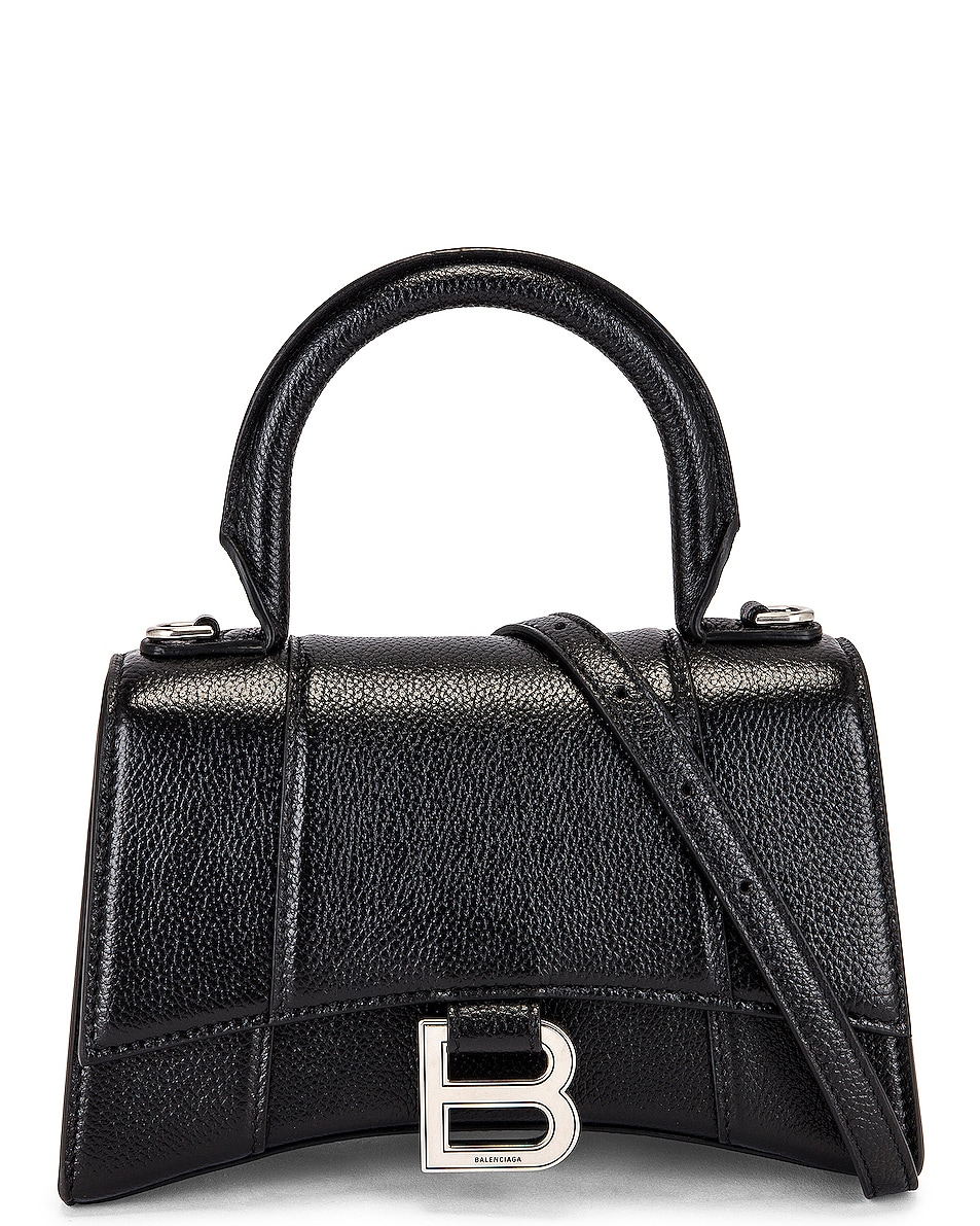 Image 1 of Balenciaga XS Hourglass Top Handle Bag in Black