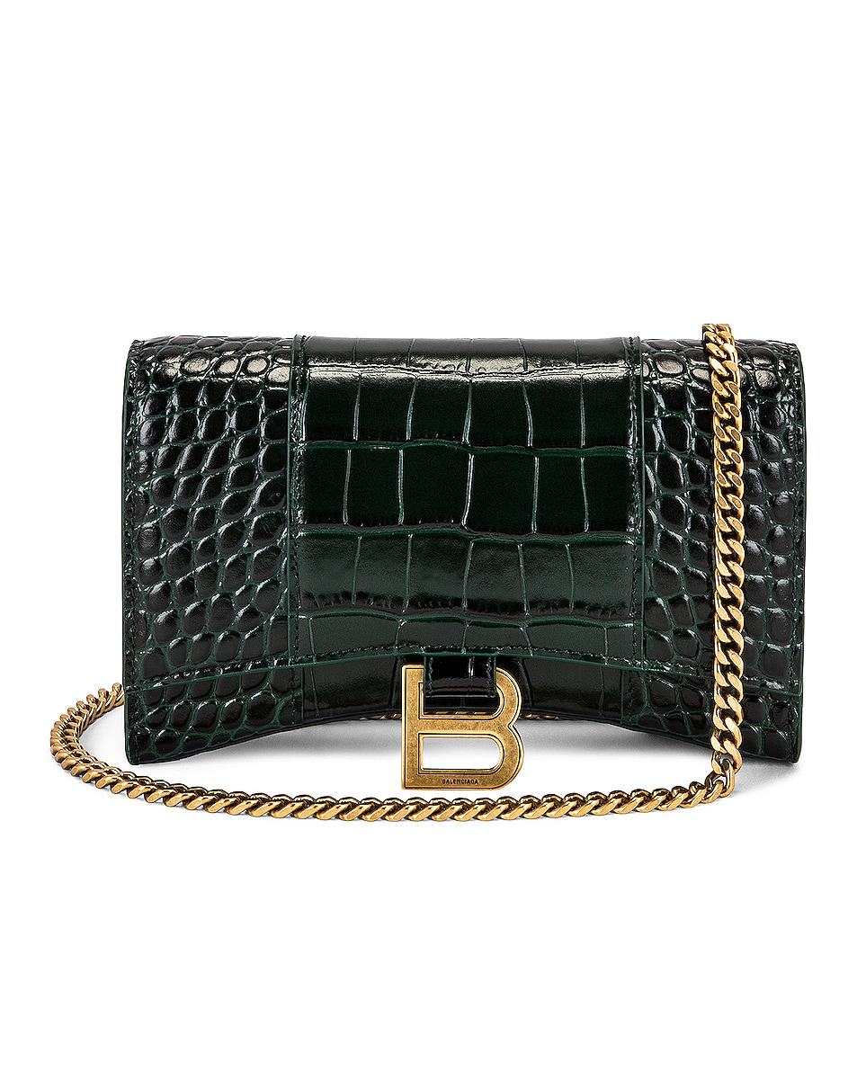 Image 1 of Balenciaga Hourglass Wallet On Chain Bag in Forest Green