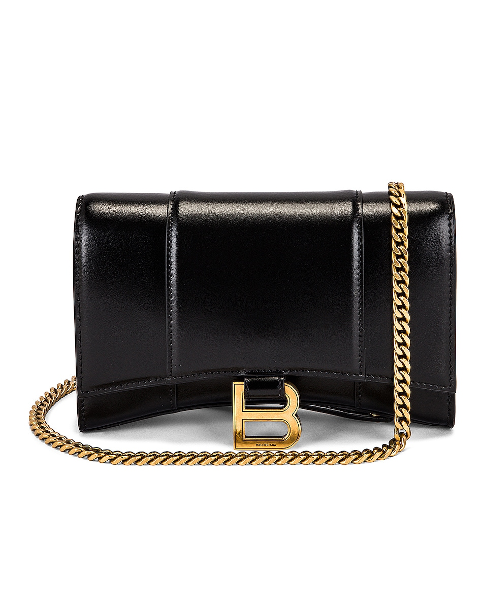 Image 1 of Balenciaga Hourglass Wallet On Chain Bag in Black