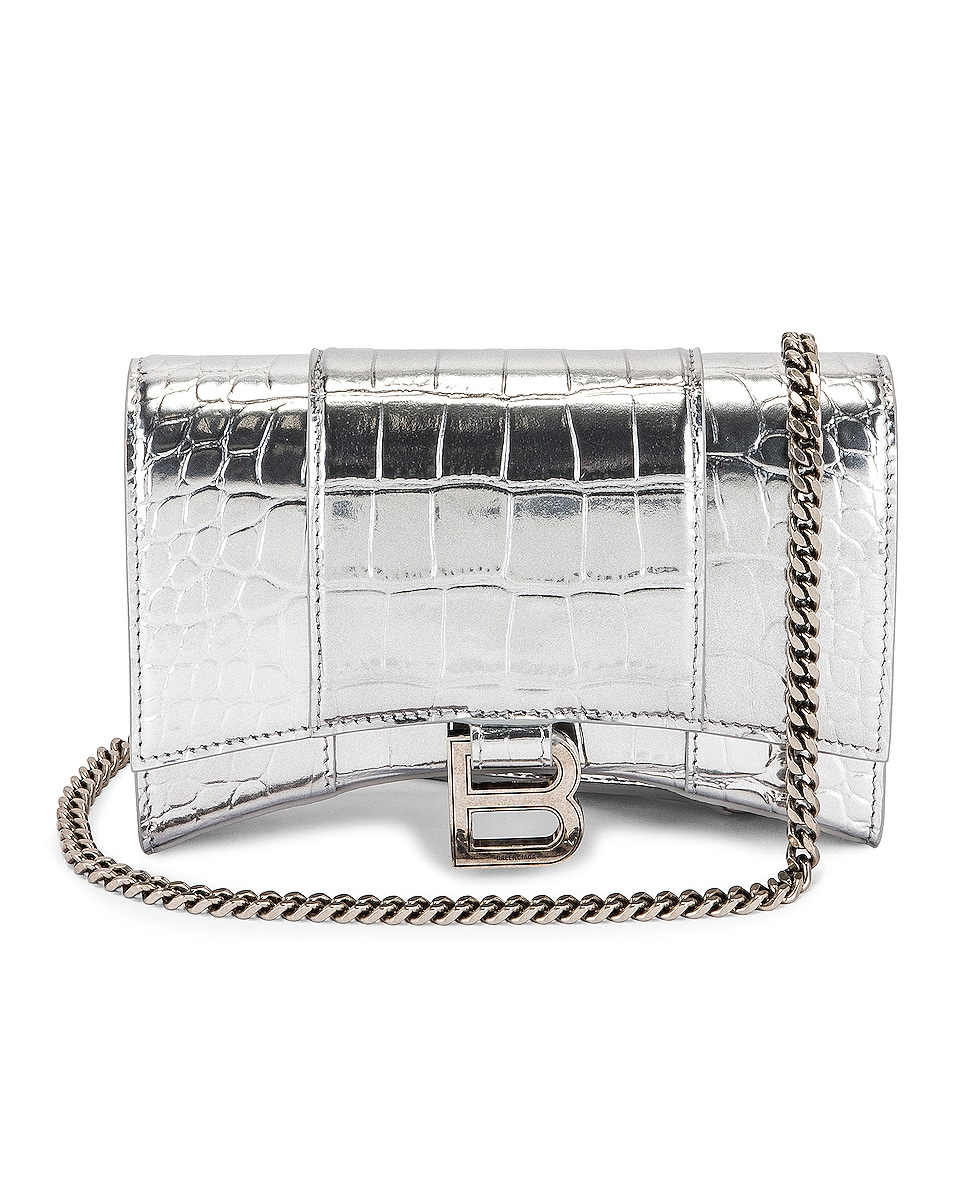 Image 1 of Balenciaga Hourglass Wallet On Chain Bag in Silver