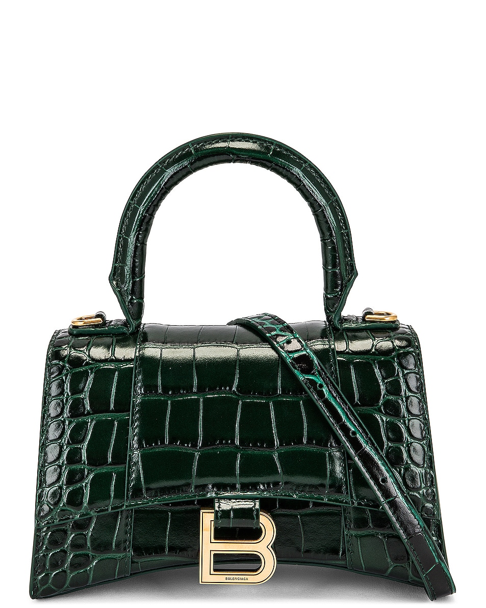 Image 1 of Balenciaga XS Hourglass Top Handle Bag in Forest Green