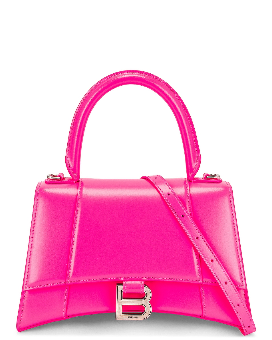 Image 1 of Balenciaga Small Hourglass Top Handle Bag in Fluo Pink