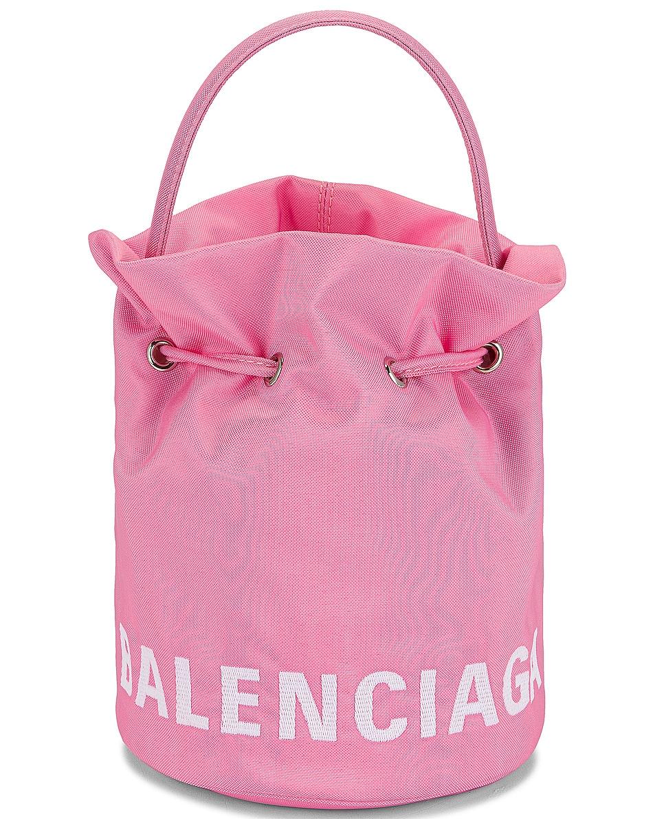 Image 1 of Balenciaga XS Wheel Drawstring Bucket Bag in Pink & Light White