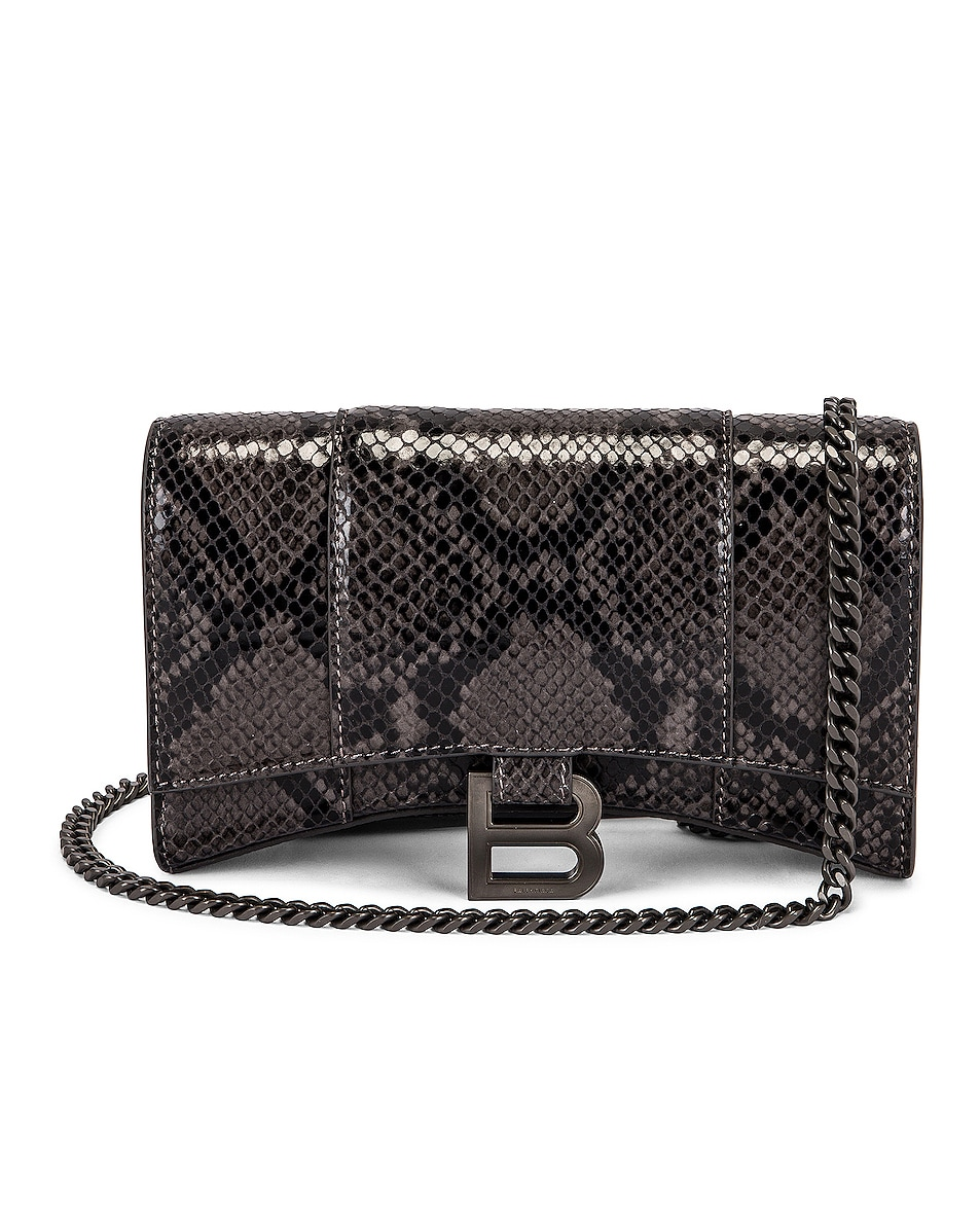 Image 1 of Balenciaga Hourglass Wallet On Chain Bag in Dark Grey & Black