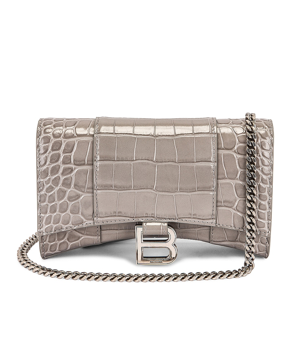 Image 1 of Balenciaga Hourglass Wallet On Chain Bag in Steel Grey
