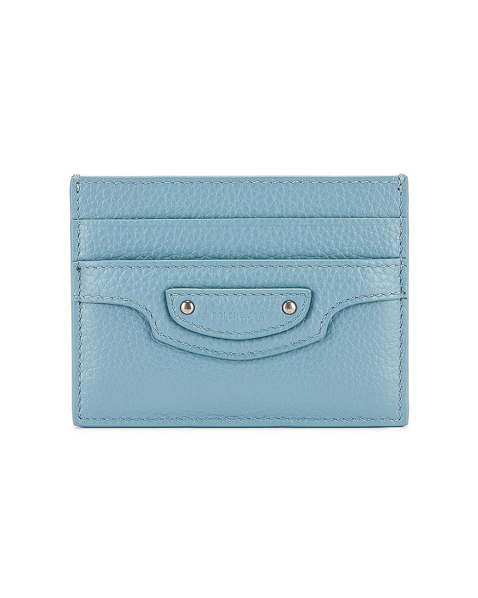 Image 1 of Balenciaga Neo Classic Card Holder in Blue Grey