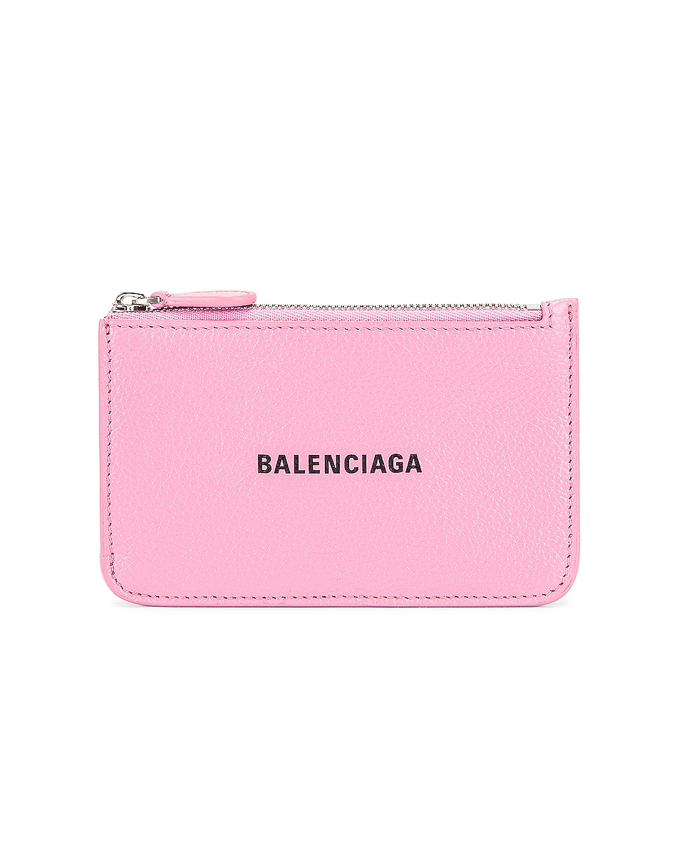 Image 1 of Balenciaga Cash Long Coin and Card Holder in Rose & Black