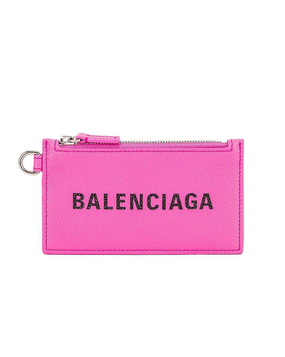 Image 1 of Balenciaga Cash Card Case on Keyring in Neon Pink & Black