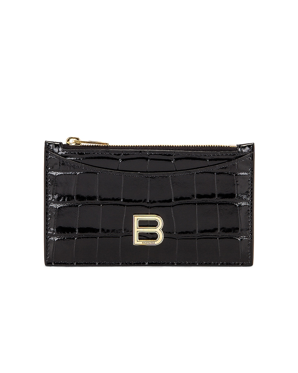 Image 1 of Balenciaga Hourglass Long Coin and Card Holder in Black