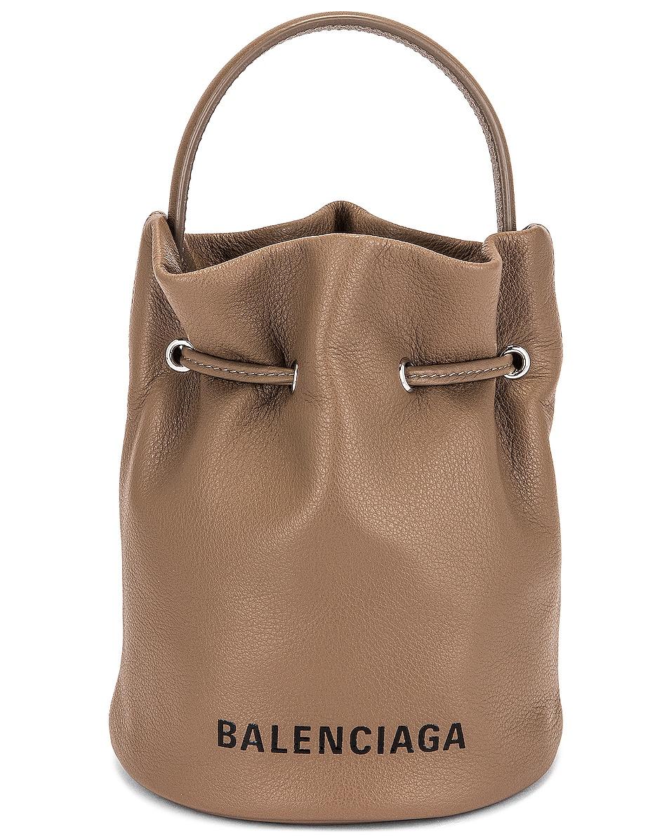Image 1 of Balenciaga XS Everyday Drawstring Bucket Bag in Mink Grey