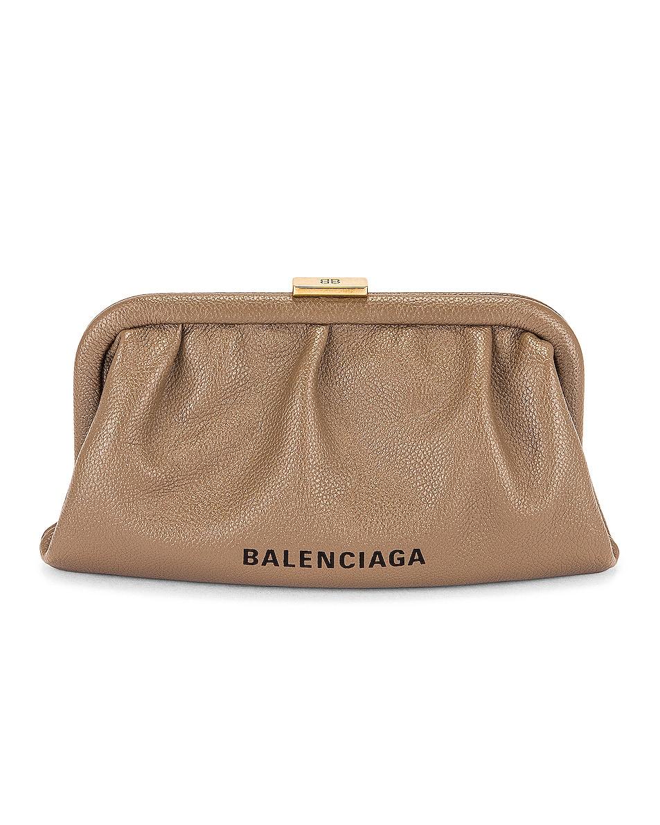 Image 1 of Balenciaga XS Cloud Strap Clutch in Mink Grey