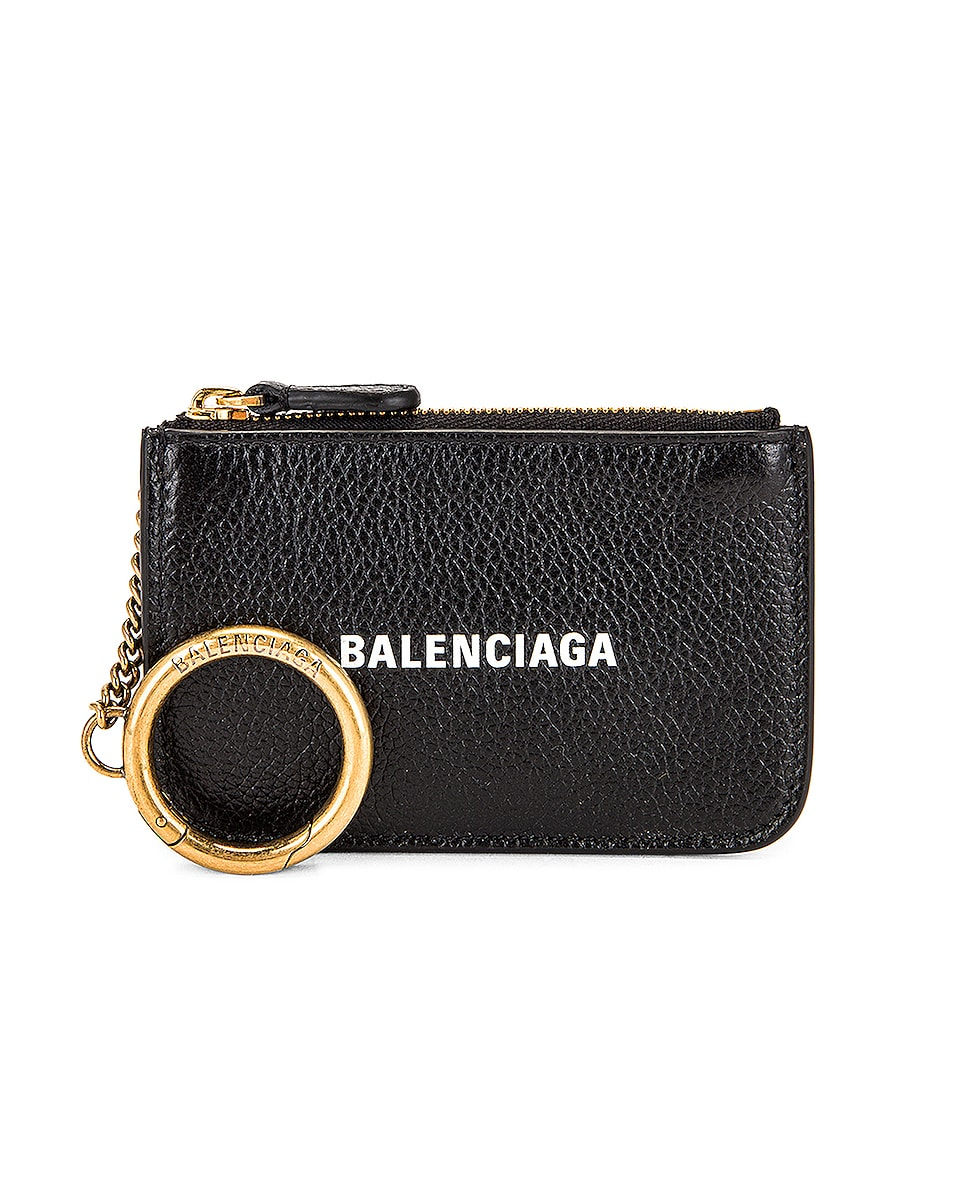 Image 1 of Balenciaga Cash Key Coin Pouch in Black & White