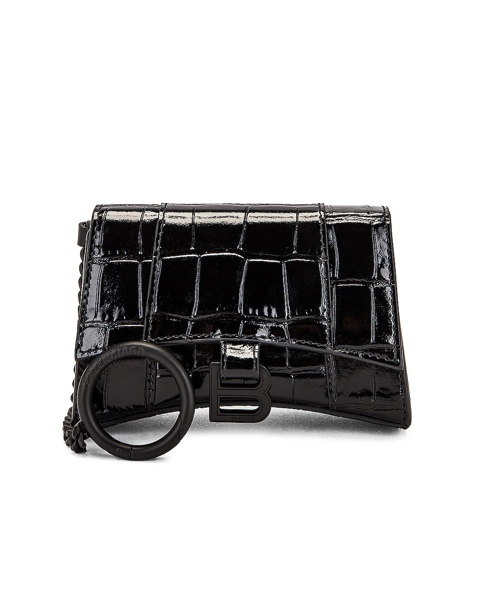 Image 1 of Balenciaga Hourglass Card Case with Chain Bag in Black