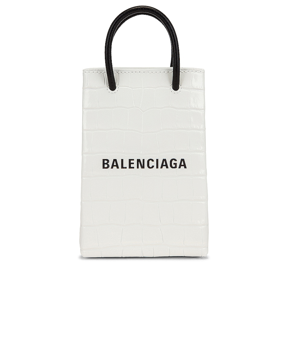 Image 1 of Balenciaga Shopping Phone Holder Bag in White