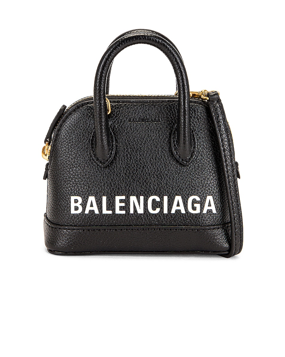 Image 1 of Balenciaga Mini Ville Top Handle Bag in Black & Light White