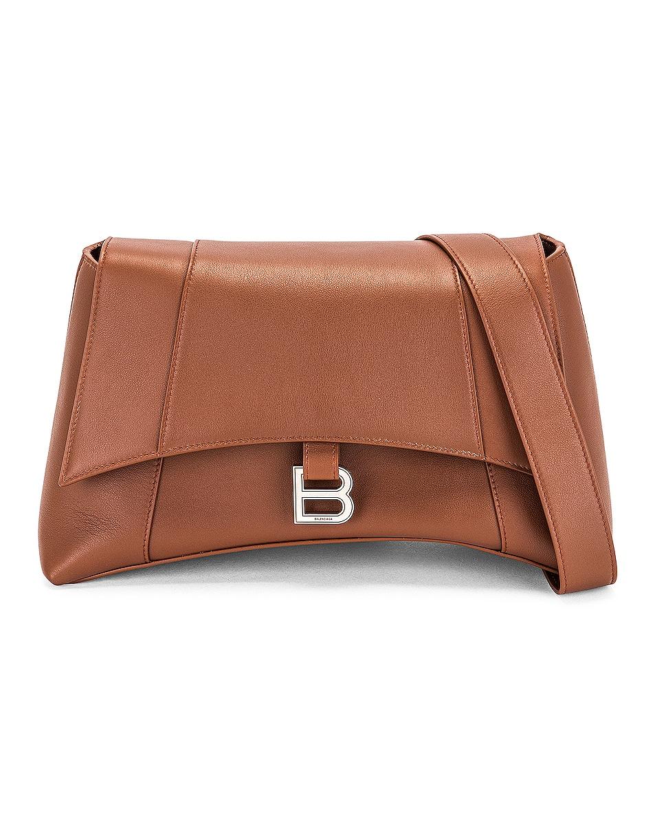 Image 1 of Balenciaga Medium Soft Hourglass Shoulder Bag in Dark Tan